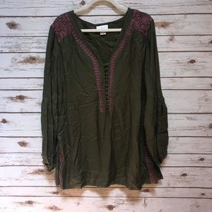 Soft surroundings green and pink Blouse Size L